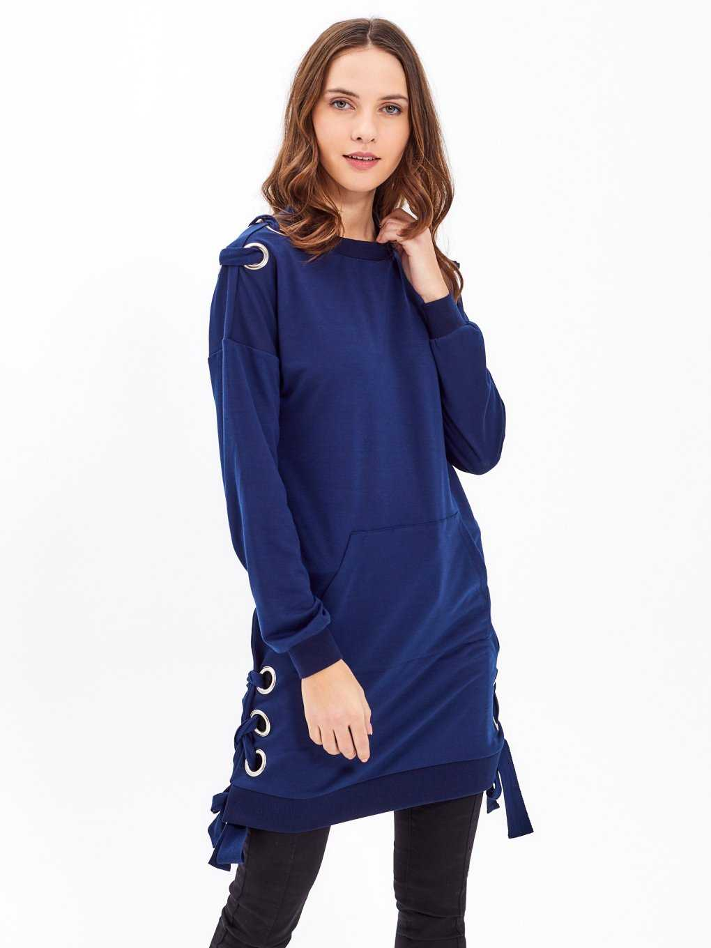 LONGLINE SWEATSHIRT WITH SIDE LACING