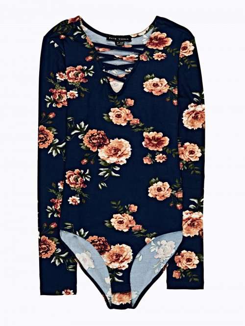 Lace-up floral print bodysuit