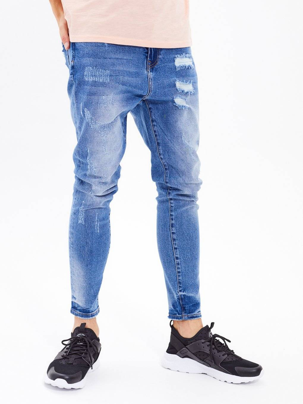 Straight slim fit tapered ripped jeans