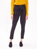 PAPERBAG STRIPED TROUSERS WITH BELT