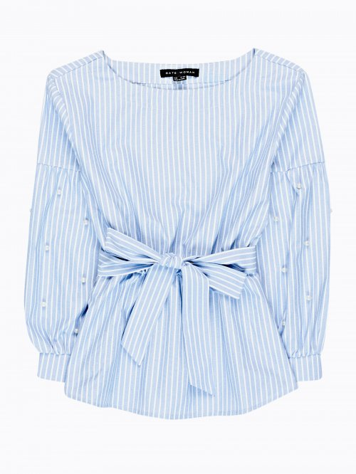 STRIPED BLOUSE WITH PEARLS
