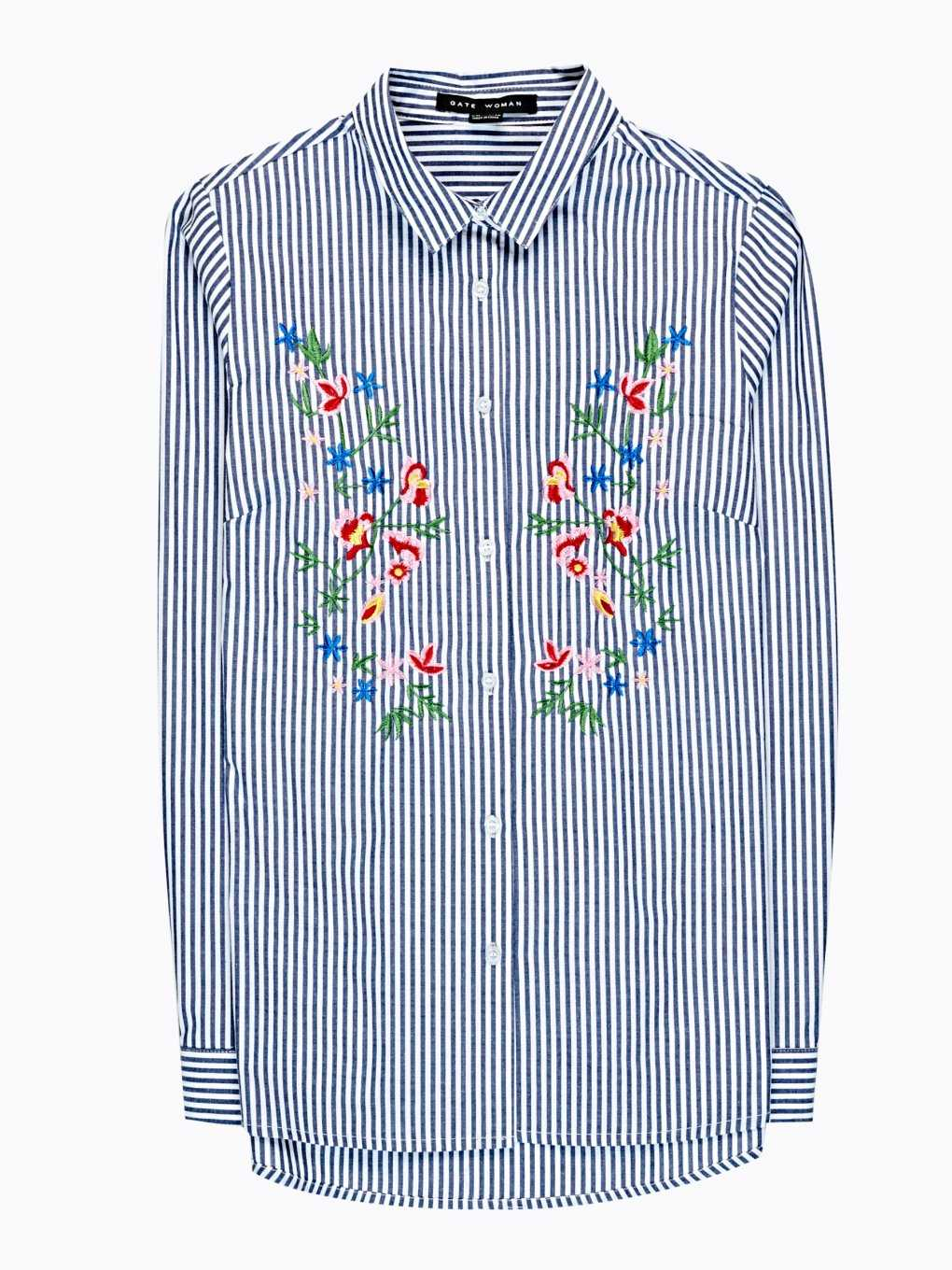 STRIPED SHIRT WITH FLORAL EMBROIDERY