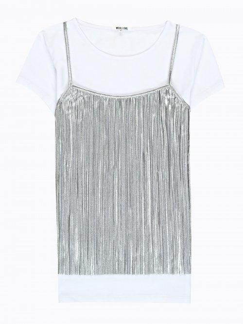 METALLIC CAMI WITH COTTON T-SHIRT