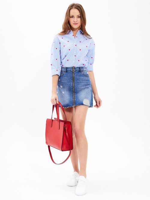 ZIP-UP DENIM SKIRT
