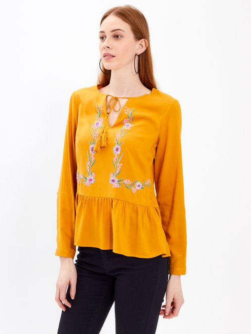 PEPLUM BLOUSE WITH FLORAL PRINT