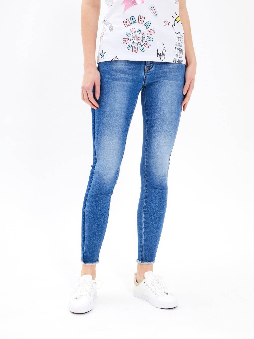 Skinny jeans with side panel