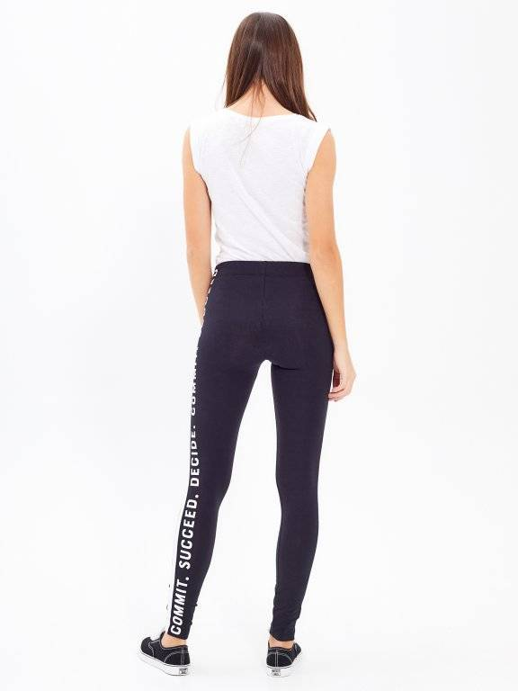 LEGGINGS WITH MESSAGE PRINT