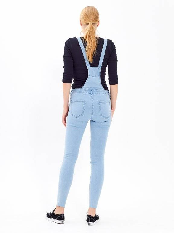 Long dungaree in light blue wash