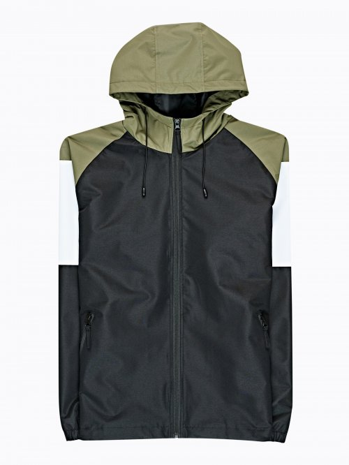 PANELED JACKET WITH HOOD