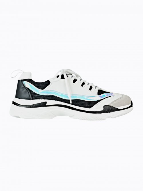 Iridescent detail lace-up sneakers