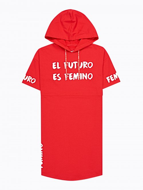 LONGLINE HOODIE WITH MESSAGE PRINT