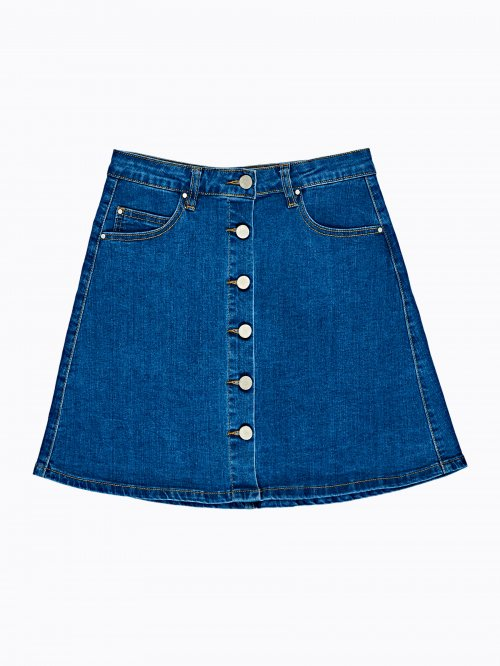 Button-up a-line denim skirt