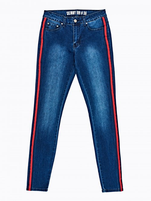 Taped skinny jeans in dark blue wash