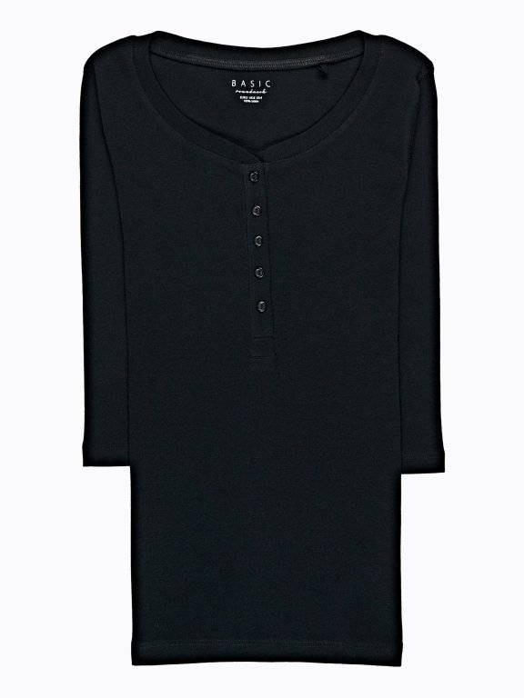 BASIC T-SHIRT WITH FRONT BUTTONS