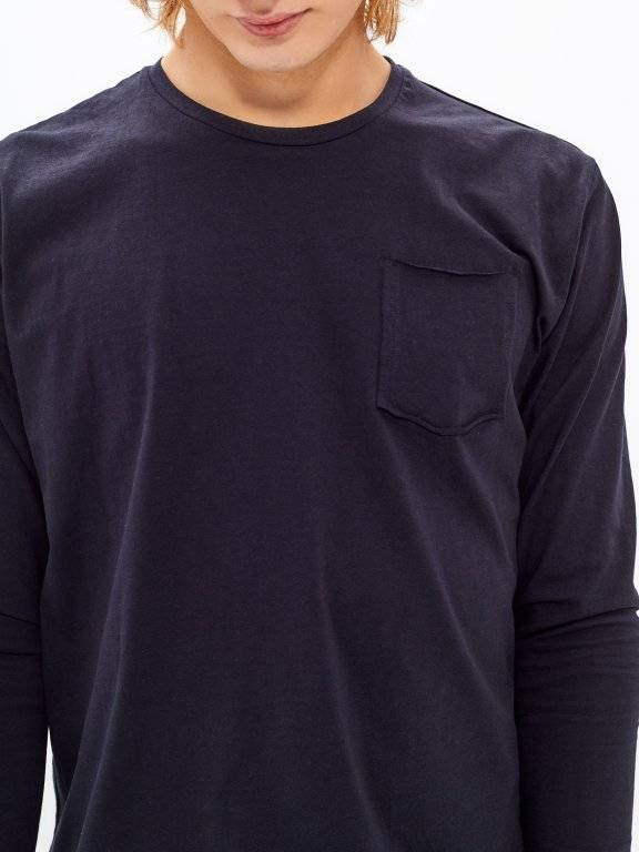 BASIC LONG SLEEVE T-SHIRT WITH RAW NECK TRIM