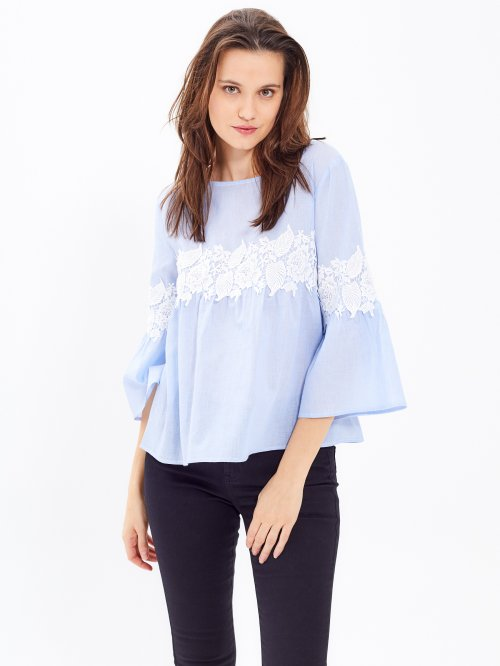 STRIPED BLOUSE WITH LACE