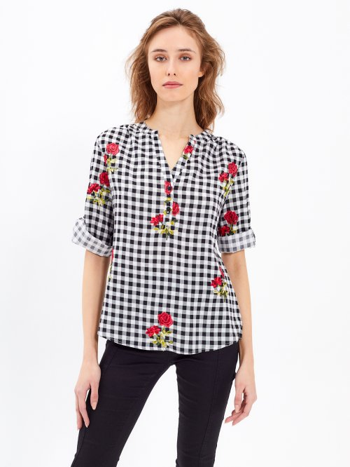 PLAID BLOUSE WITH EMBROIDERY