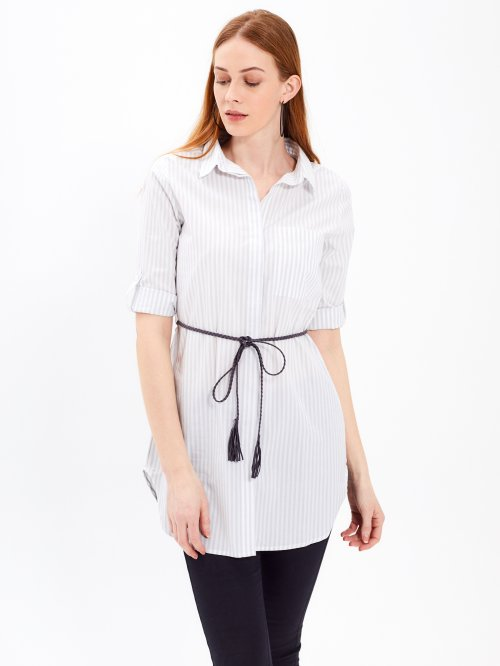 LONGLINE STRIPED SHIRT WITH BELT