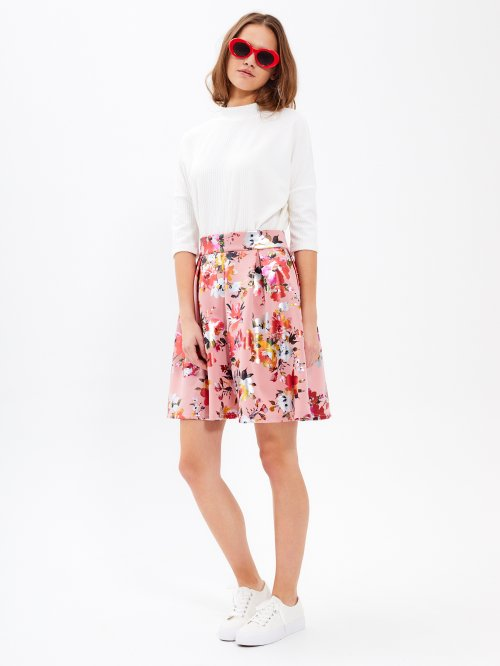 0761ad383d16 Áčková sukňa s kvetinovou potlačou