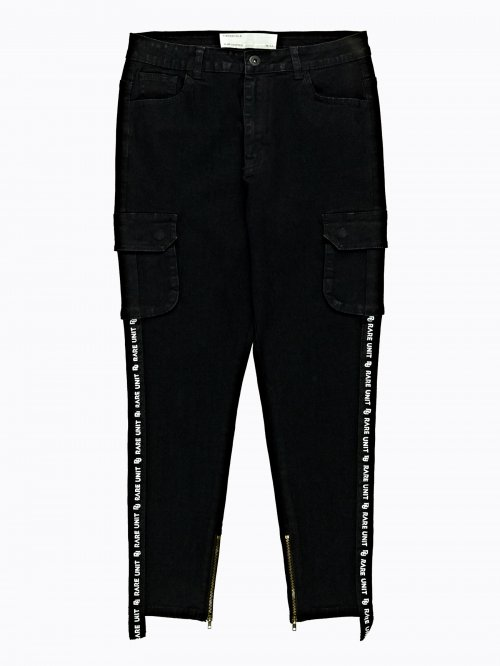 TAPED CROPPED JEANS WITH SIDE POCKETS