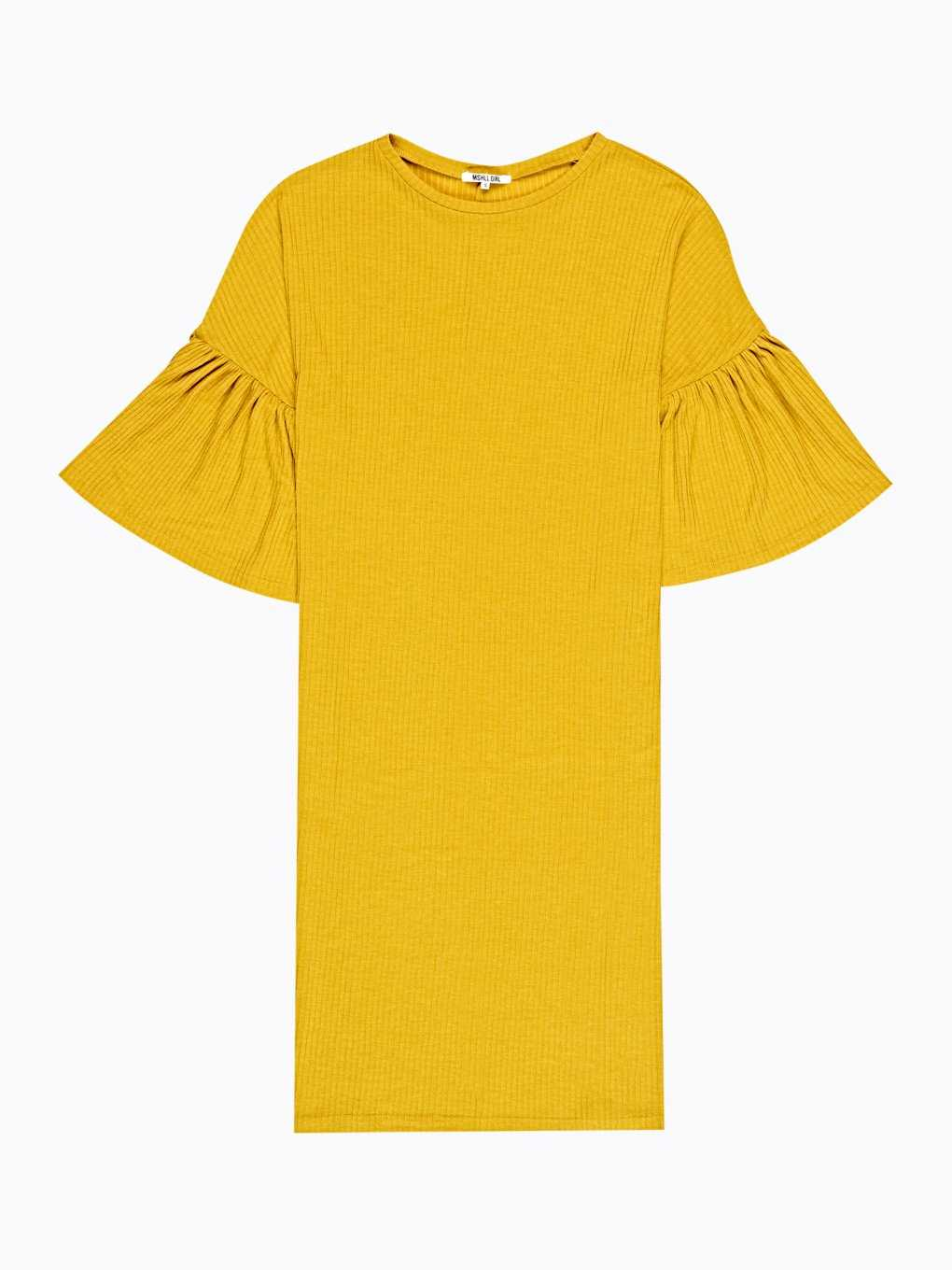 RUFFLE-SLEEVE RIB-KNIT DRESS
