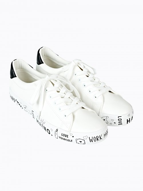 LACE-UP SNEAKERS WITH MESSAGE PRINT SOLE