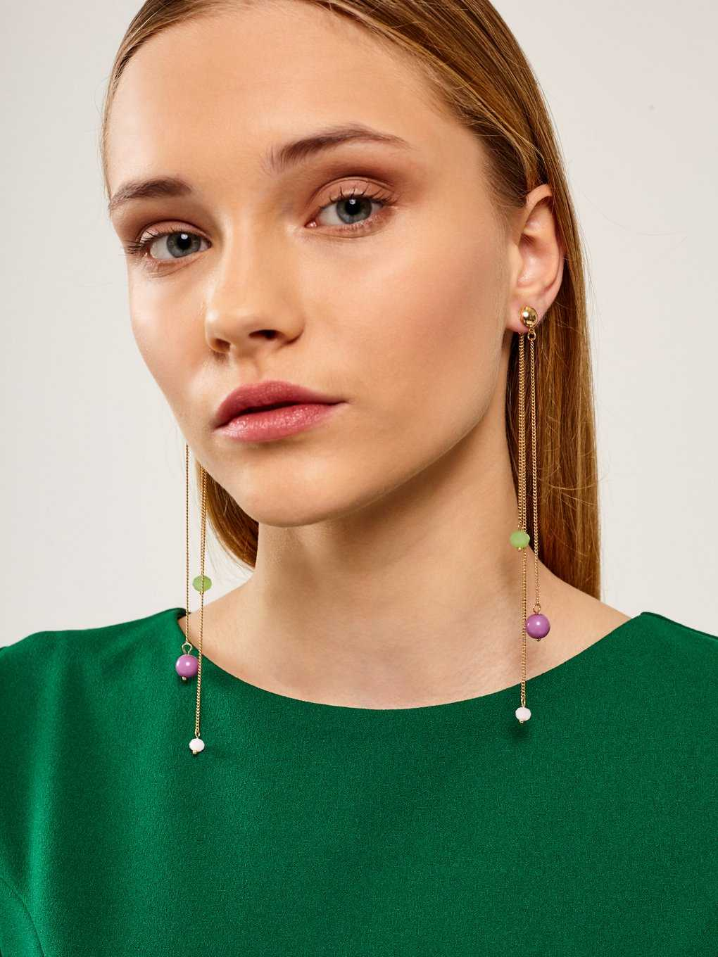 DROP LONG CHAIN EARRINGS