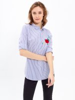 STRIPED SHIRT WITH EMBROIDERY