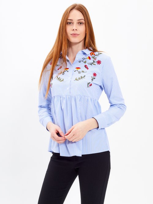STRIPED PEPLUM SHIRT WITH EMBROIDERY