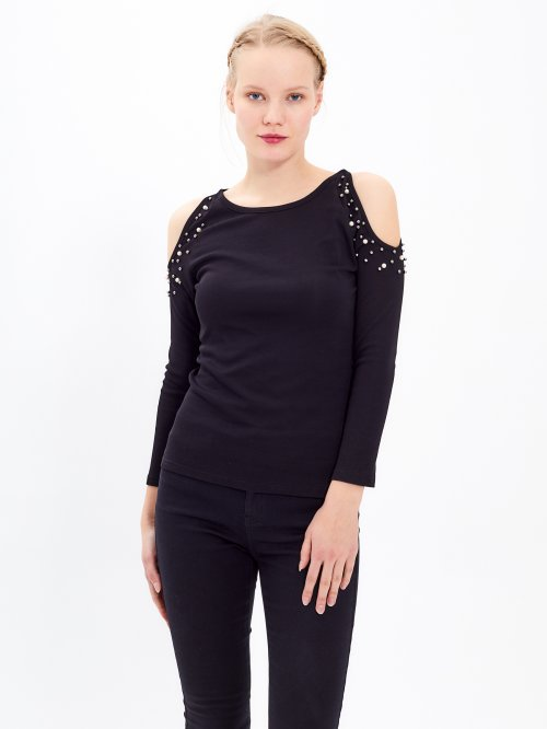 COLD SHOULDER TOP WITH PEARLS