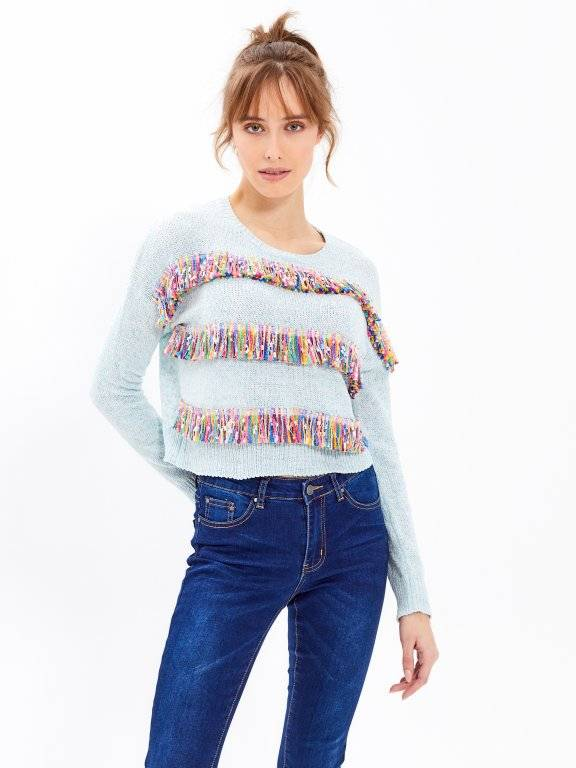 CROPPED JUMPER WITH COLOURFUL TASSELS