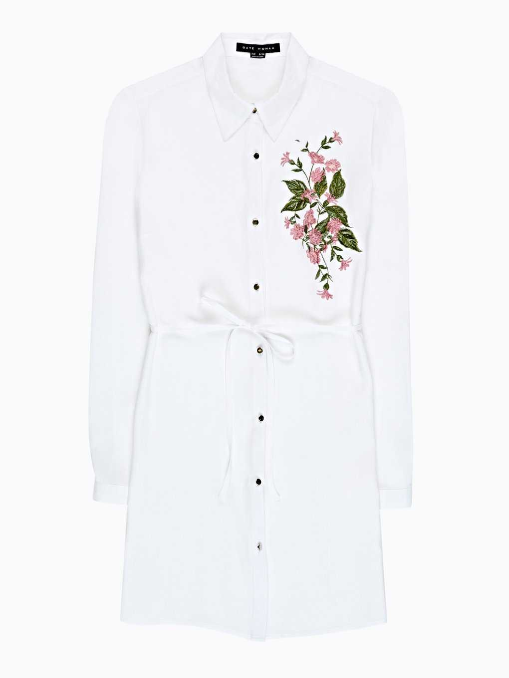 LONGLINE SHIRT WITH FLORAL EMBROIDERY