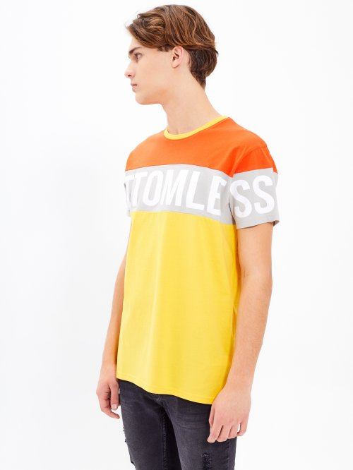 PANELED T-SHIRT WITH PRINT