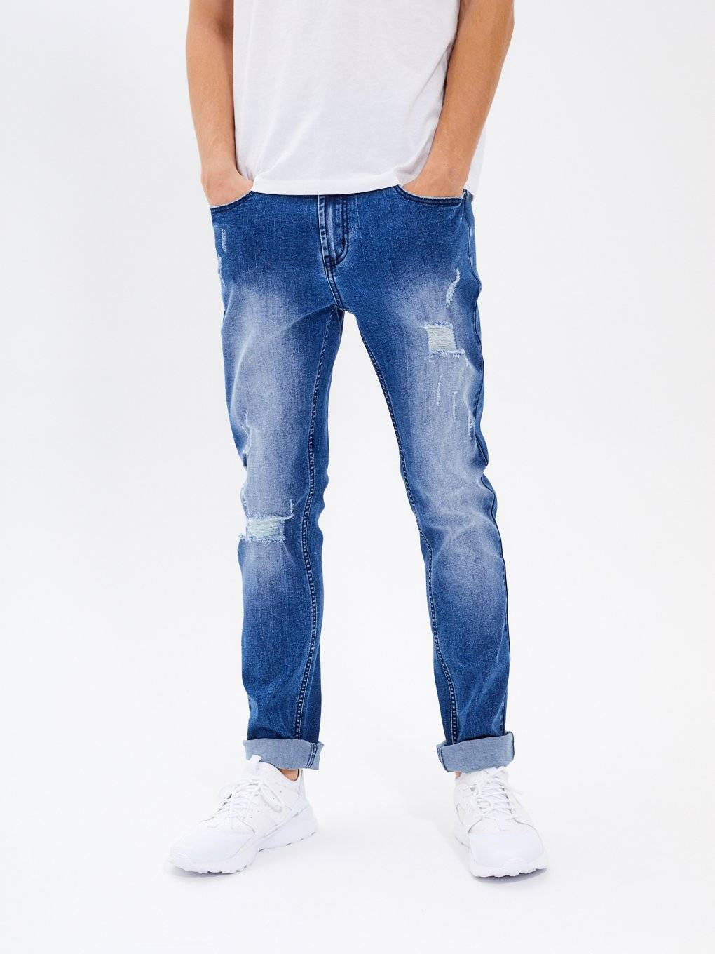 Straight slim fit distressed jeans