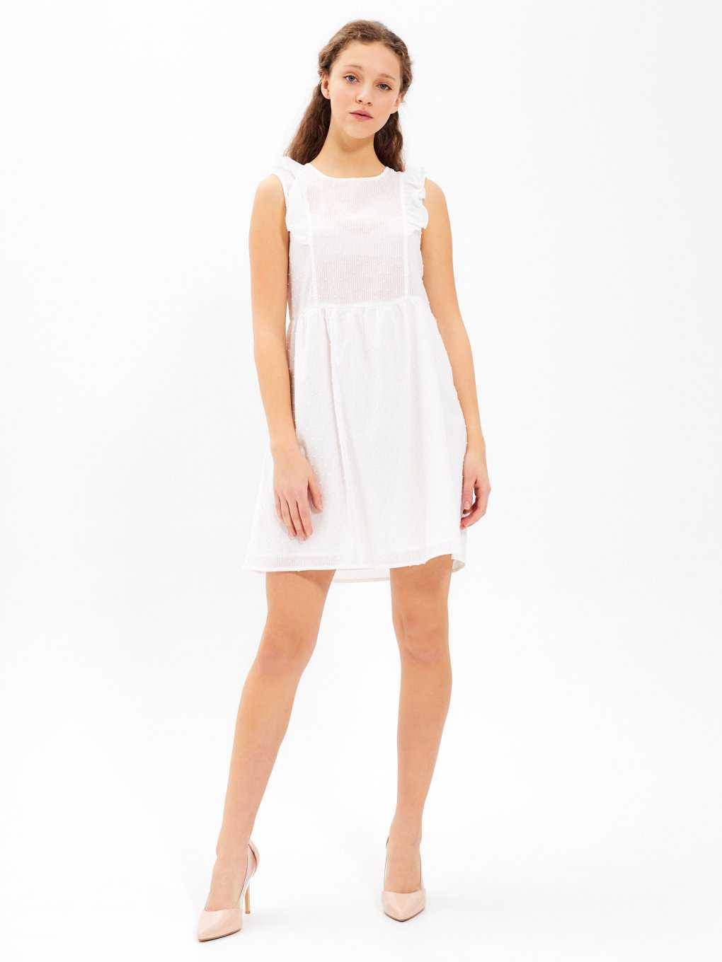 SLEEVLESS DRESS WITH RUFFLE