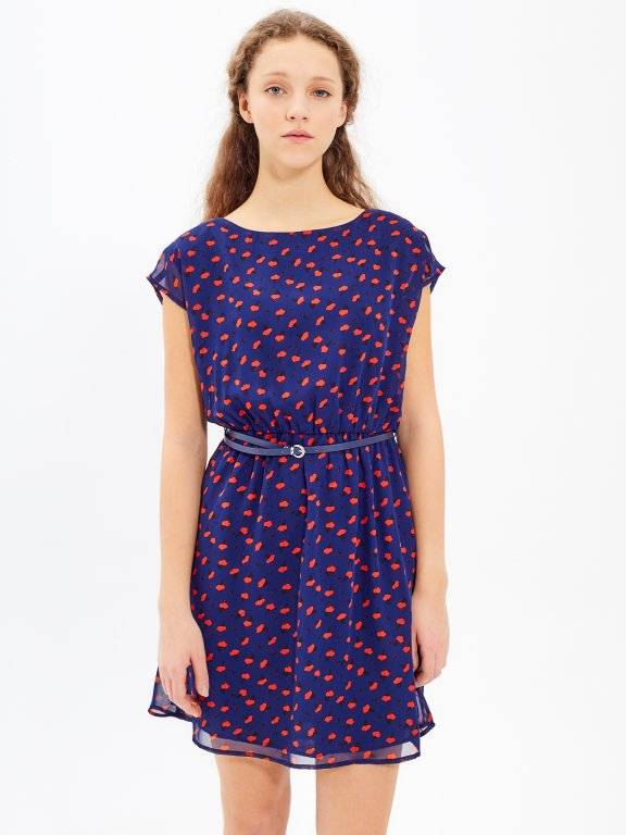 PRINTED CHIFFON DRESS WITH BELT