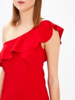 ASYMMETRIC SHOULDLER DRESS WITH RUFFLE