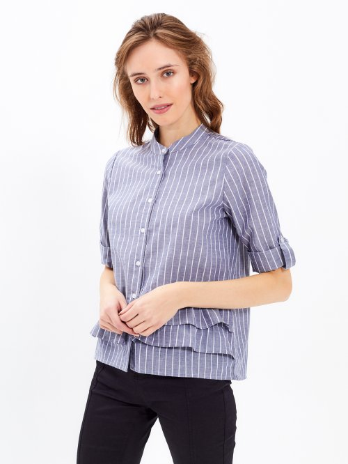 STRIPED BLOUSE WITH RUFFLE DETAIL