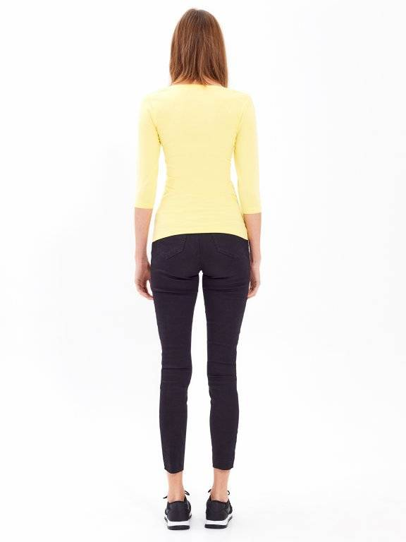 BASIC STRETCH T-SHIRT WITH 3/4 SLEEVE