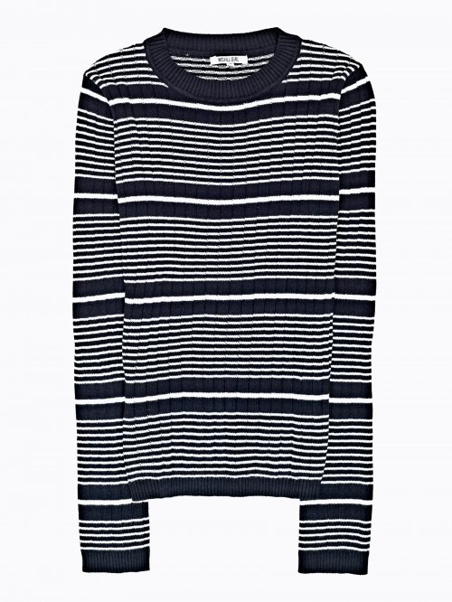 Striped rib-knit jumper