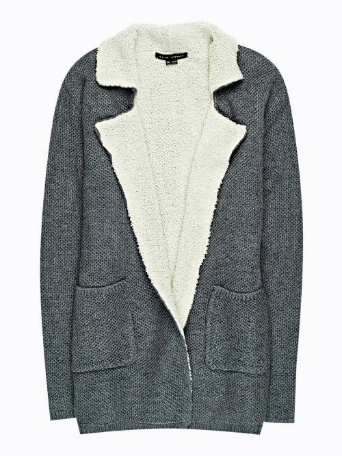 Pile lined cardigan