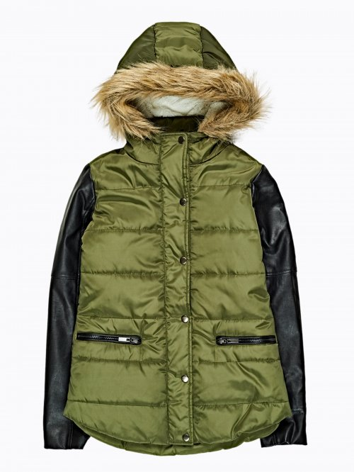 Combined padded quilted jacket