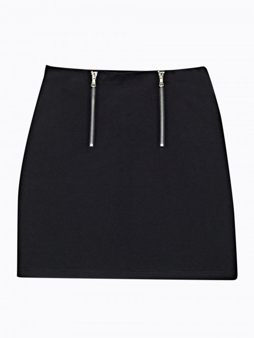 Front zippers mini skirt