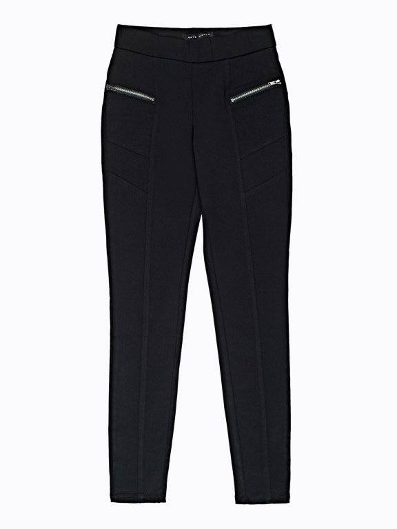 Slim trousers with zippers