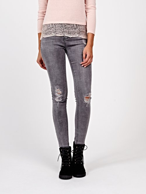 Distressed cropped skinny jeans in mid grey wash