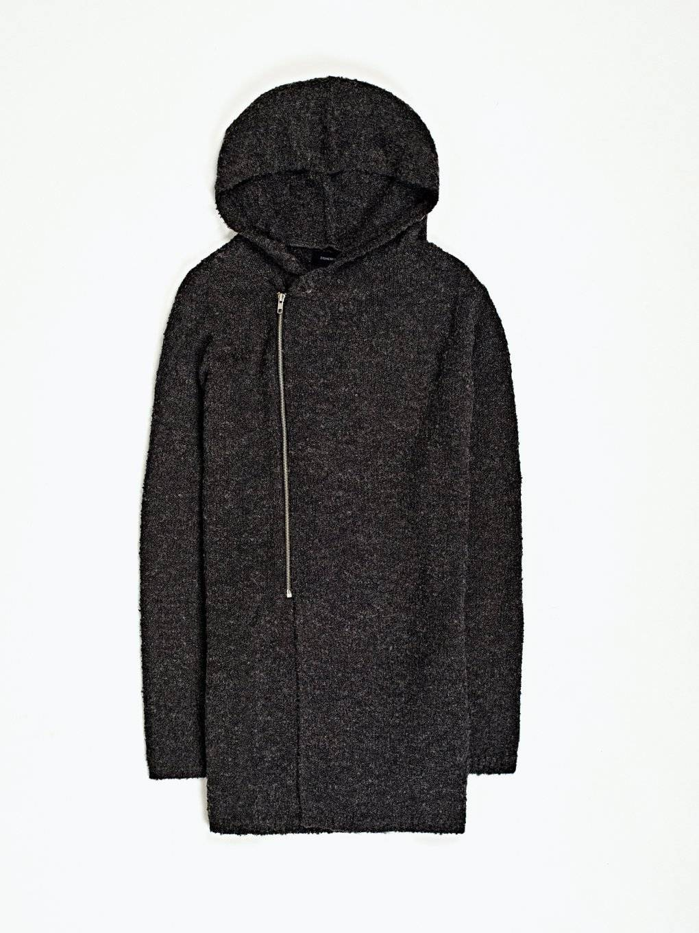 Zip-up hooded cardigan