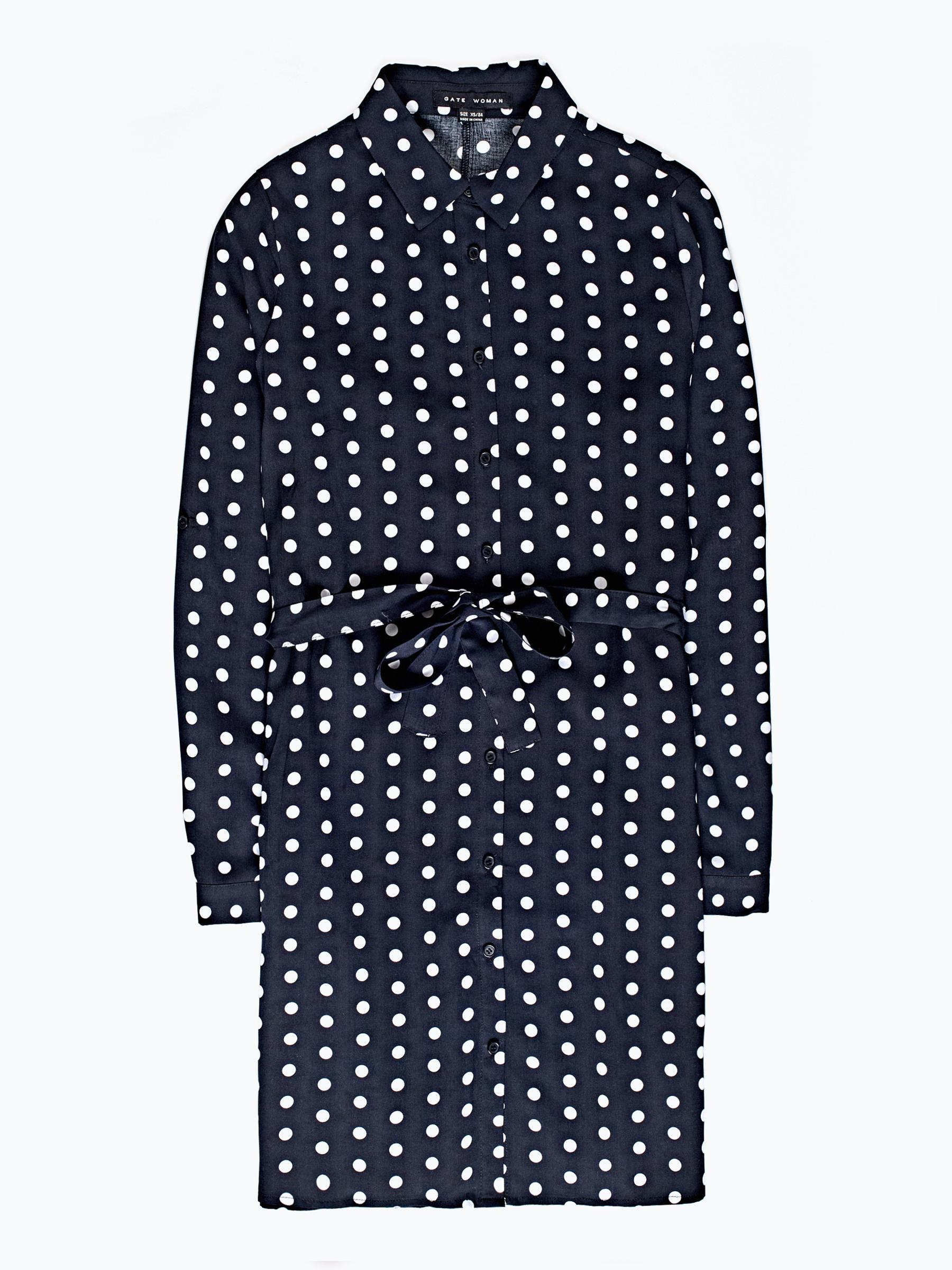 GATE Košilové šaty s puntíkovaným potiskem