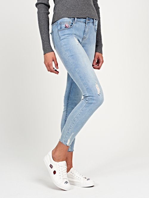 Cropped skinny jeans with rose embroidery