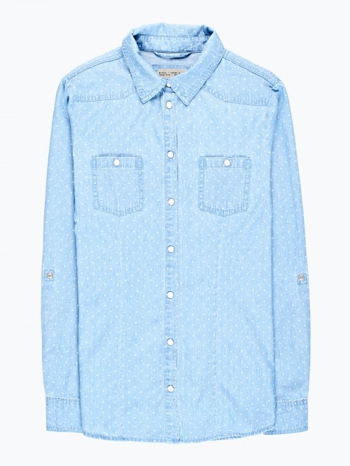 Polka dot print denim shirt in light blue wash