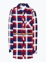 Prolonged plaid shirt with belt